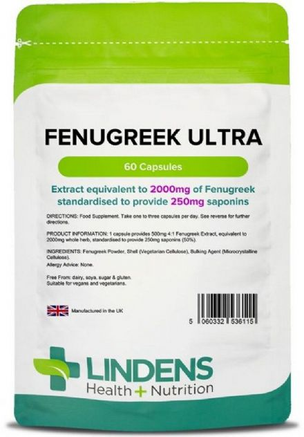 Fenugreek ULTRA Extract 2000mg x 60 Capsules; Anabolic Support; Lindens